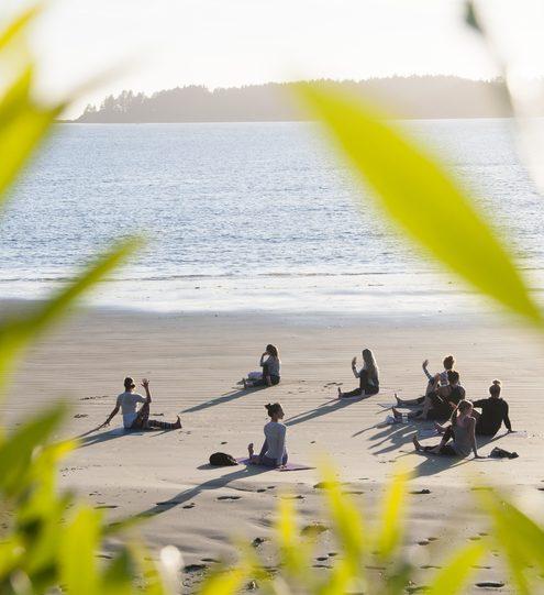 Yoga on the beach Tofino